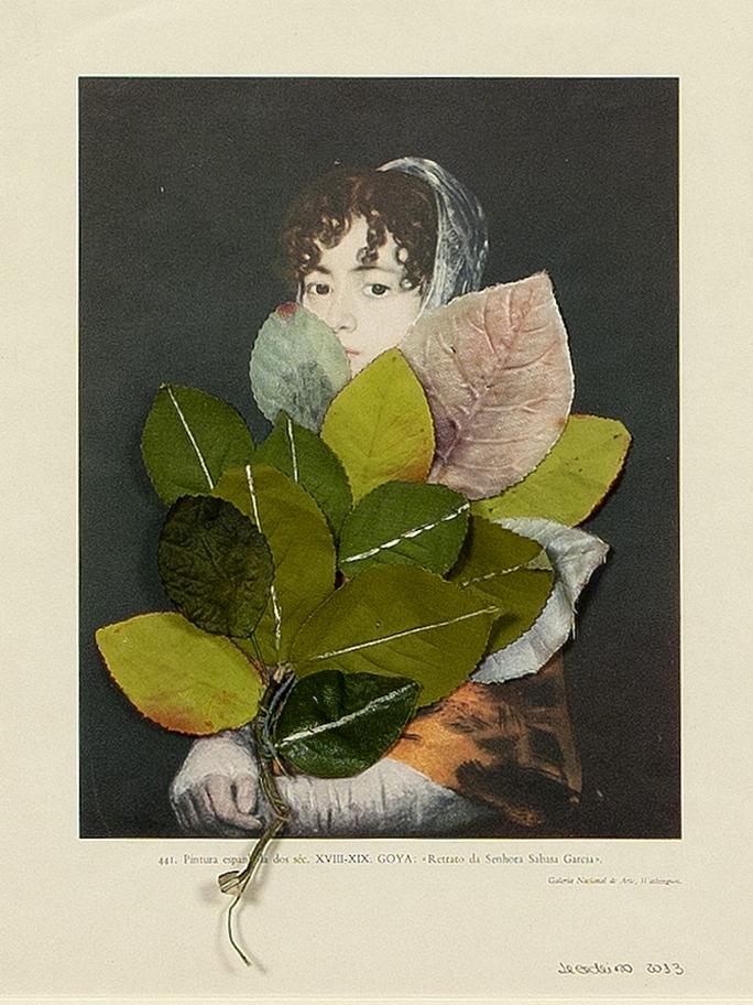 Retrato de Doña Francisca Sabasa Garcia (depois de Goya) Folhas Artificiais sobre Gravura Encontrada 46 x 40 cm 2012