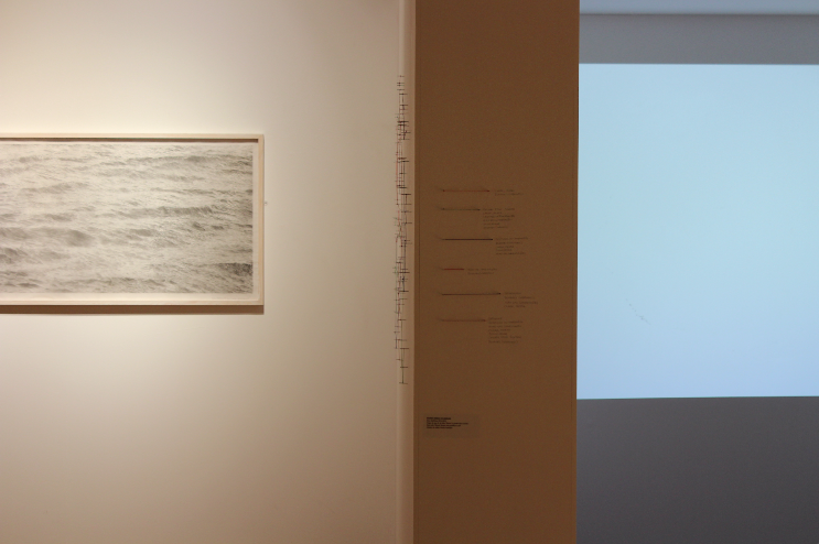 Maritime Routes [Exhibition View, Casa da Cerca, Almada] Steel Nails, Thread and Graphite on Wall Variable Size 2015