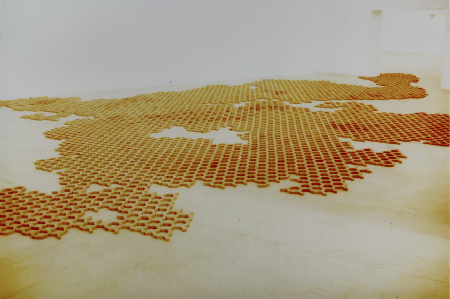 Installation 7th International Biennial for Sculpture and Drawing Caldas da Rainha Red Clay, 2500 kg Variable Size 1997