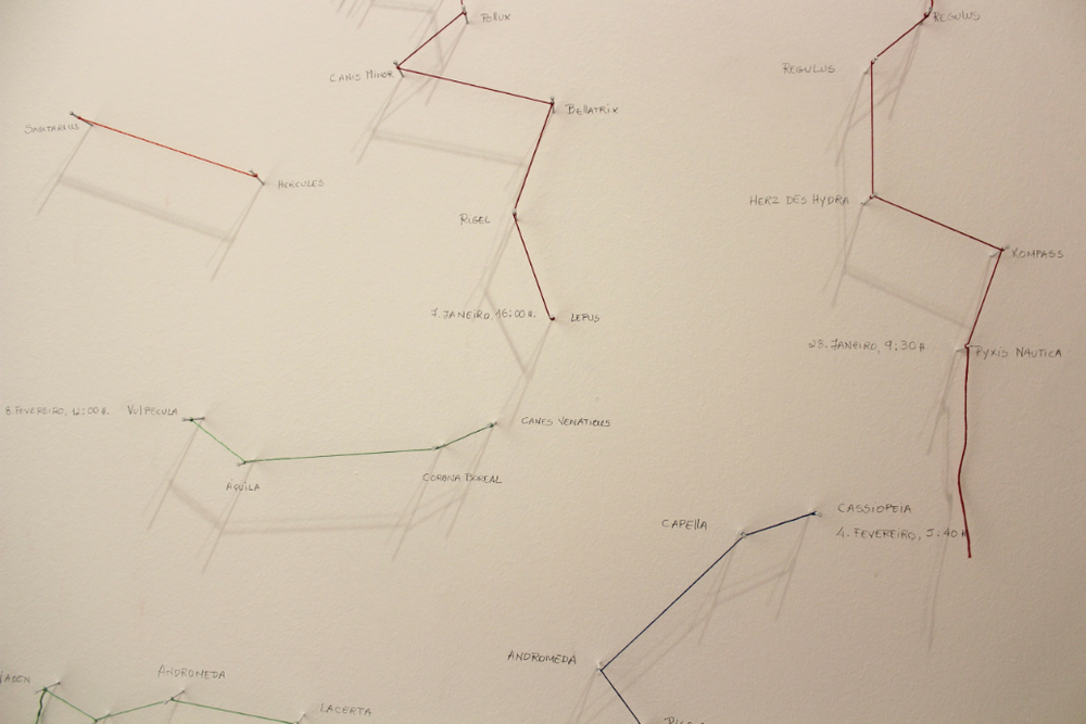Maritime Routes [Exhibition Detail, Casa da Cerca, Almada] Steel Nails, Thread and Graphite on Wall Variable Size 2015