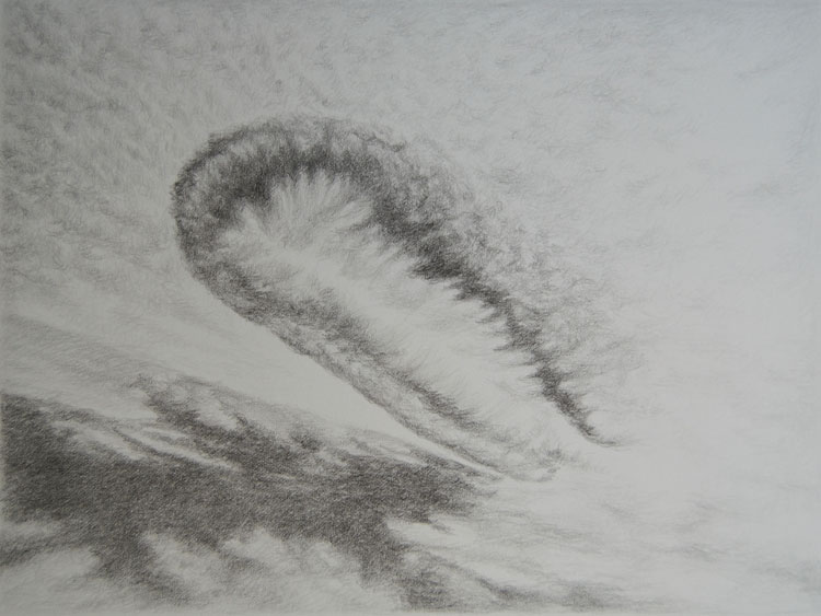 Contrail - daily mail co.uk article Graphite on Arches paper, 34 x 28 cm 2012
