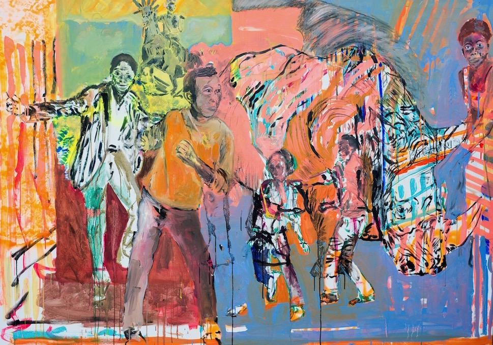 Rhino que dance óleo s/tela 140 x 180 cm