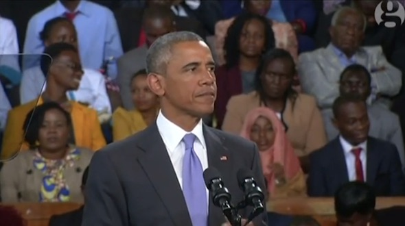 Obama addressing Nairobi crowd. Image from The Guardian.               Watch the speech here.