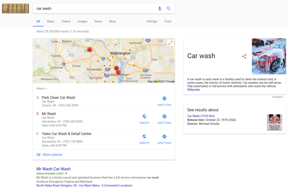 "Figure 1: Searching ""car wash"" usually produces a map with pins marking local businesses that offer car cleaning services. Google is treating the phrase ""car wash"" as local intent. The boxes on the right satisfy less likely intents: perhaps you're looking for a definition or an obscure film."