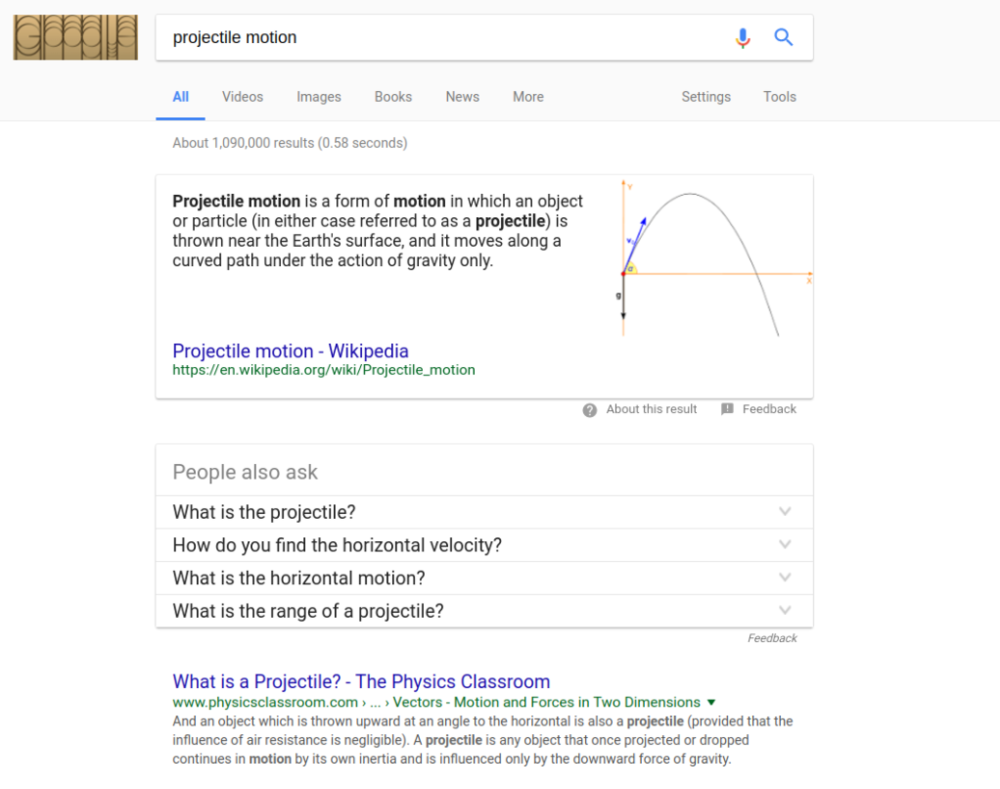 Figure 2: The laws governing projectile motion don't change from city to city, so Google sees no need to vary the results either. Although, that would make watching baseball a lot more interesting.