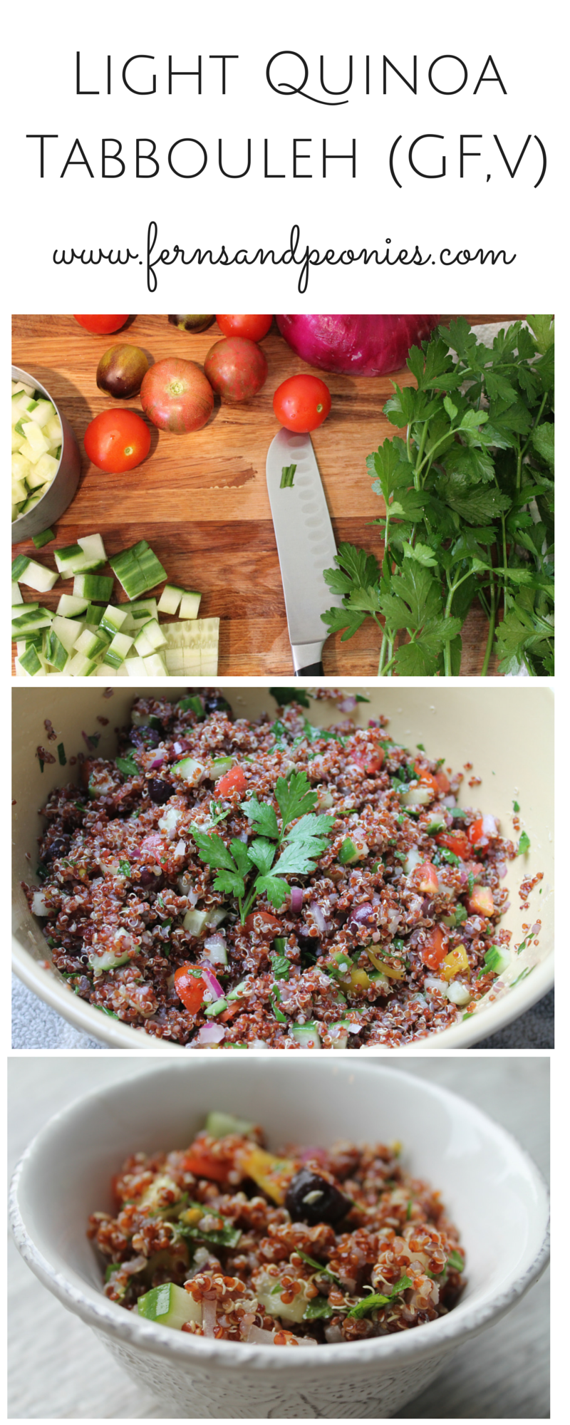 Light Quinoa Tabbouleh Salad (GF,V) from fernsandpeonies.com