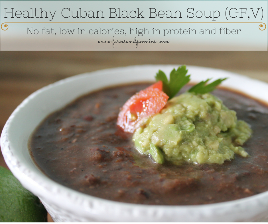 Healthy Cuban Black Bean Soup (GF,V) by www.fernsandpeonies.com