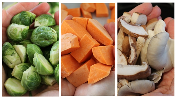 Vegan Thanksgiving Countdown - Let Your Veggies Shine. Roasted Brussel Sprouts with Balsamic Reduction, Maple Roasted Sweet Potatoes, and Sauteed Wild Mushrooms with Thyme. All Gluten-free and Vegan and brought to you by www.fernsandpeonies.com