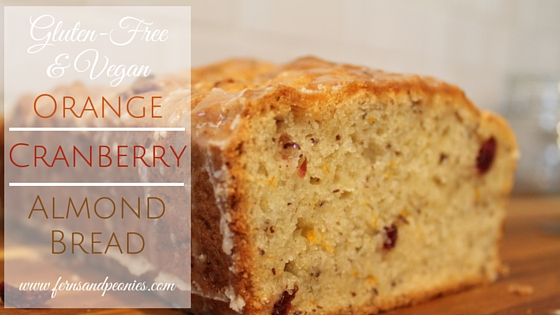 Gluten-free, Vegan Orange Cranberry Almond Bread by www.fernsandpeonies.com