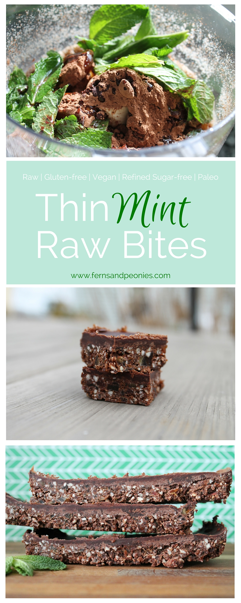 Thin Mint Raw Bites that are amazngly gluten-free, vegan, refined sugar-free and paleo. You can find the blog and recipe at www.fernsandpeonies.com