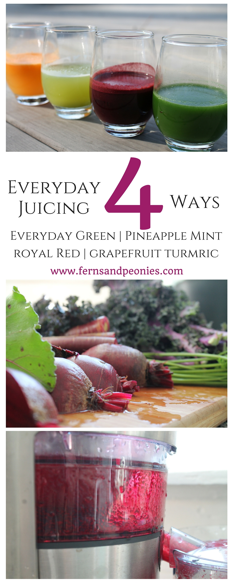 Everyday Juicing - 4 delicious and nutritious recipes. Everyday Green, Pineapple Mint, Royal Red, and Grapefruit Turmeric. Healthy Me. Healthy You. www.fernsandpeonies.com