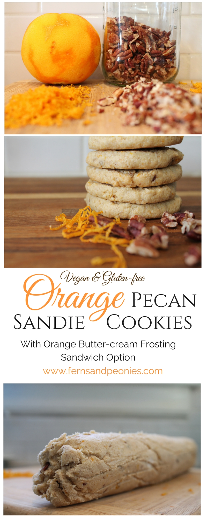 Vegan & Gluten-free Orange Pecan Sandies with Orange Butter-cream Frosting Cookie Sandwich Option. Free recipe on the blog at www.fernsandpeonies.com