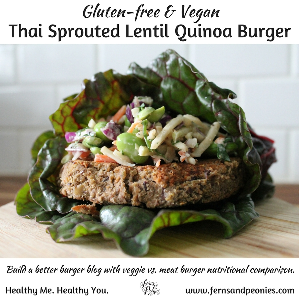 Gluten-free and vegan Thai Sprouted Lentil Quinoa burger with Asian slaw. Find the recipe on this week's blog at www.fernsandpeonies.com