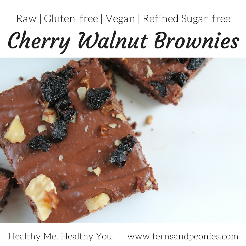 Raw Cherry Walnut Brownies. These beauties are not only raw, but they are also vegan, gluten-free, and refined sugar-free. Find the recipe and more at www.fernsandpeonies.com