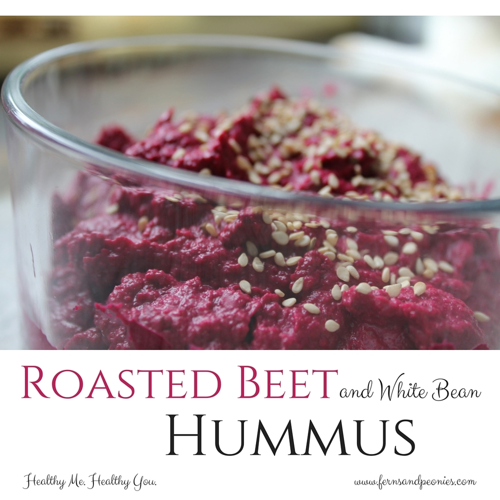 Vegan and gluten-free Roasted Beet with White Bean Hummus. Sure to be the star of your party! Find the recipe at www.fernsandpeonies.com