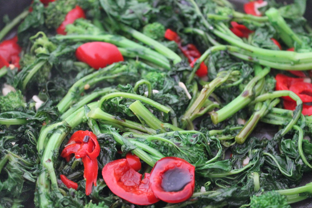 Gluten-free and vegan Broccoli Rabe cooked with balsamic vinegar, garlic, and piquante peppers — major additction alert! Find the recipe and more gluten-free and vegan recipes at www.fernsandpeonies.com