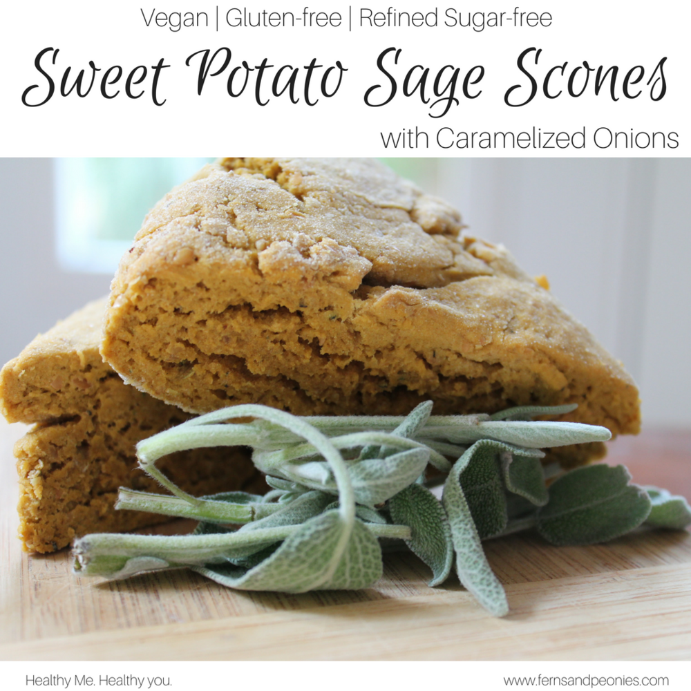 These Sweet Potato Scones are baked with caramelized onions and sage and are the perfect addition to your holiday dinner or with a hot spicy cup of tea. Find this vegan, gluten-free and refined sugar-free recipe and more at www.fernsandpeonies.com