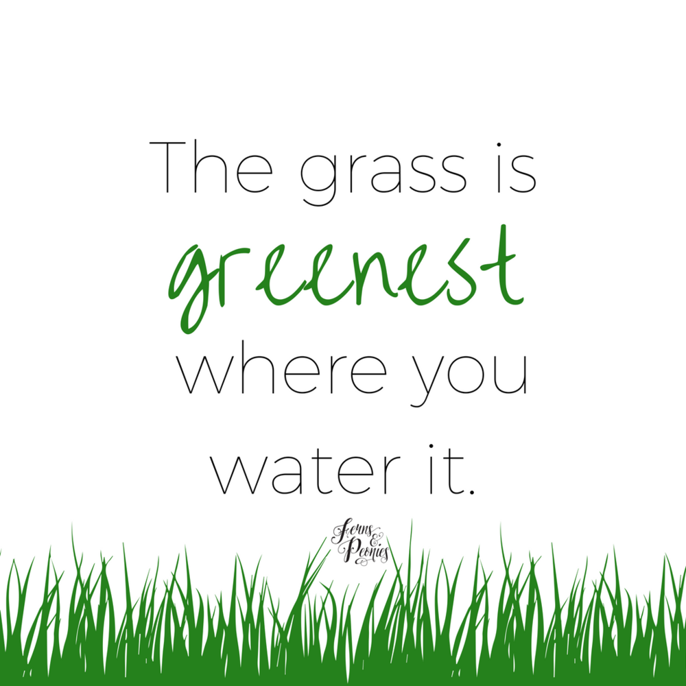The grass is greenest where you water it. What to make a change in your life, make it happen. Find healthy recipes, clean eating advice and more at www.fernsandpeonies.com