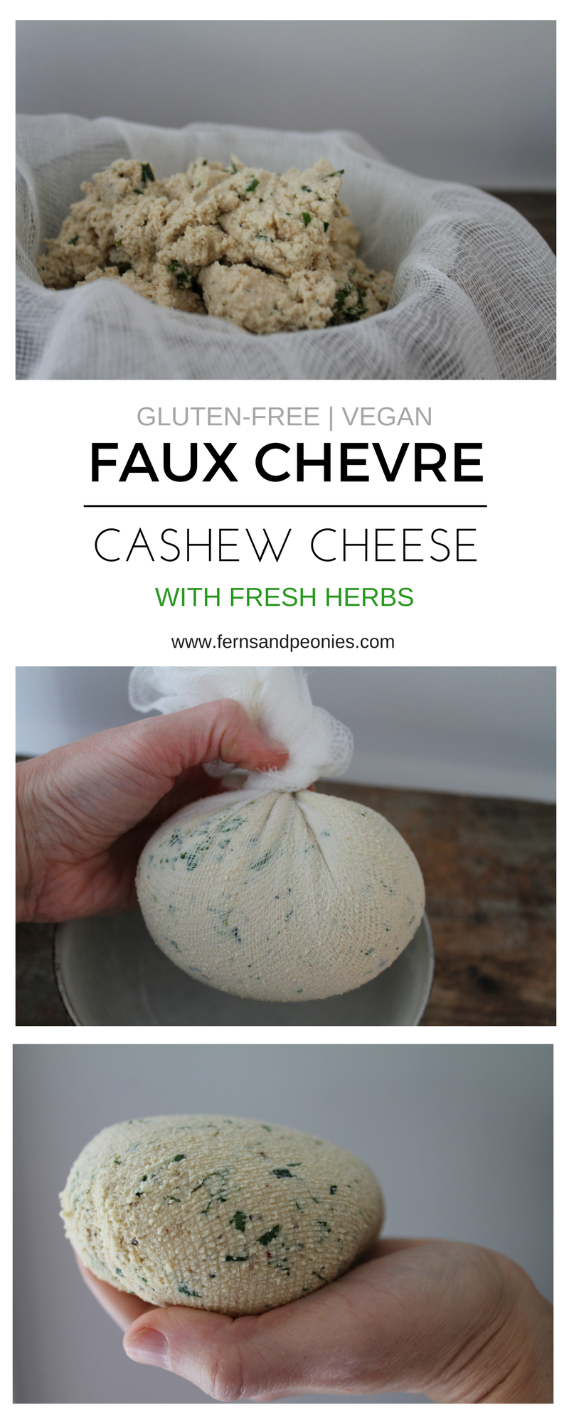 Faux Chevre Cashew Cheese with fresh herbs. Vegan, gluten-free, and raw. Find this recipe and more at www.fernsandpeonies.com