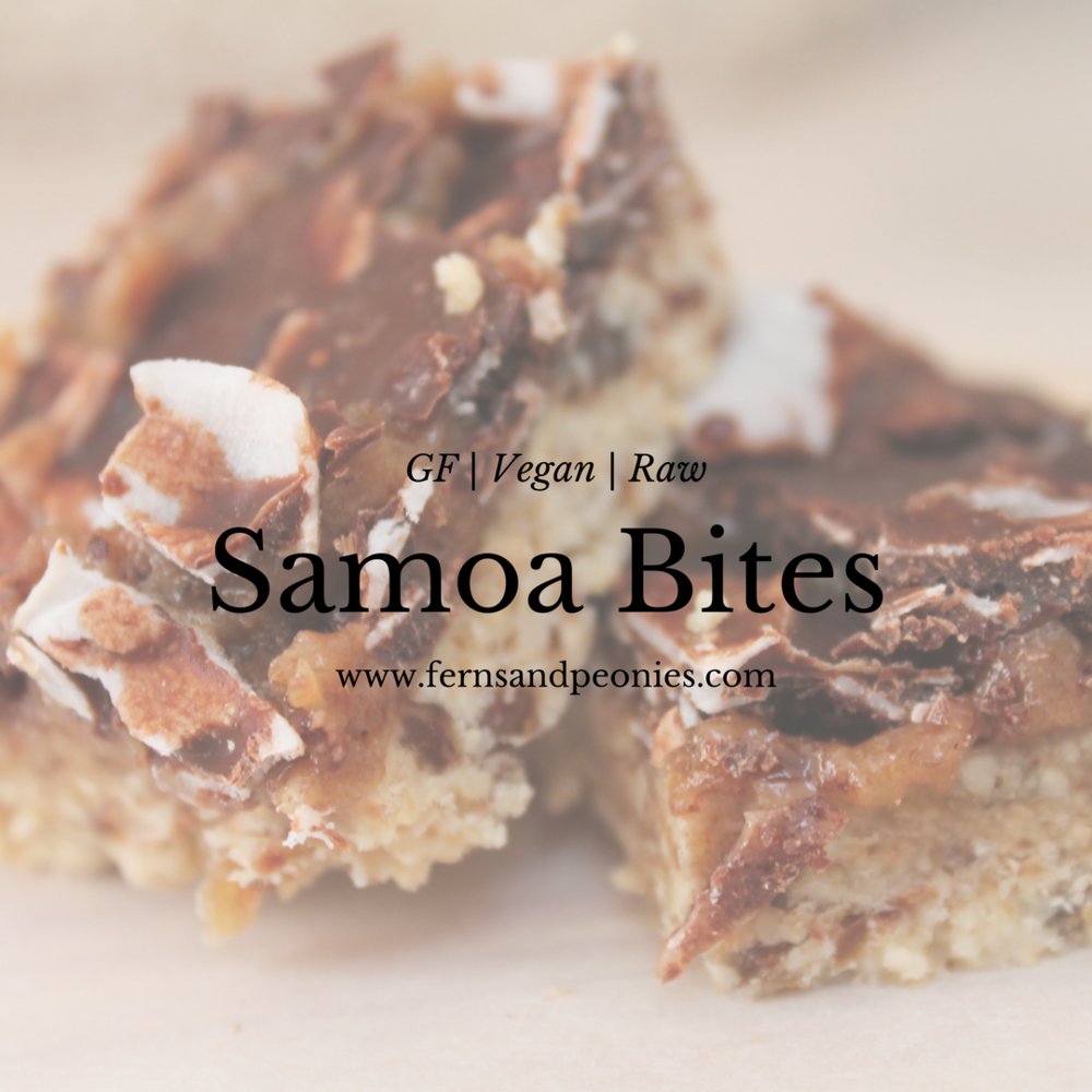 Raw Samoa Bites - tastes like the real thing, only better. Find it and more gluten-free and vegan recipes at www.fernsandpeonies.com
