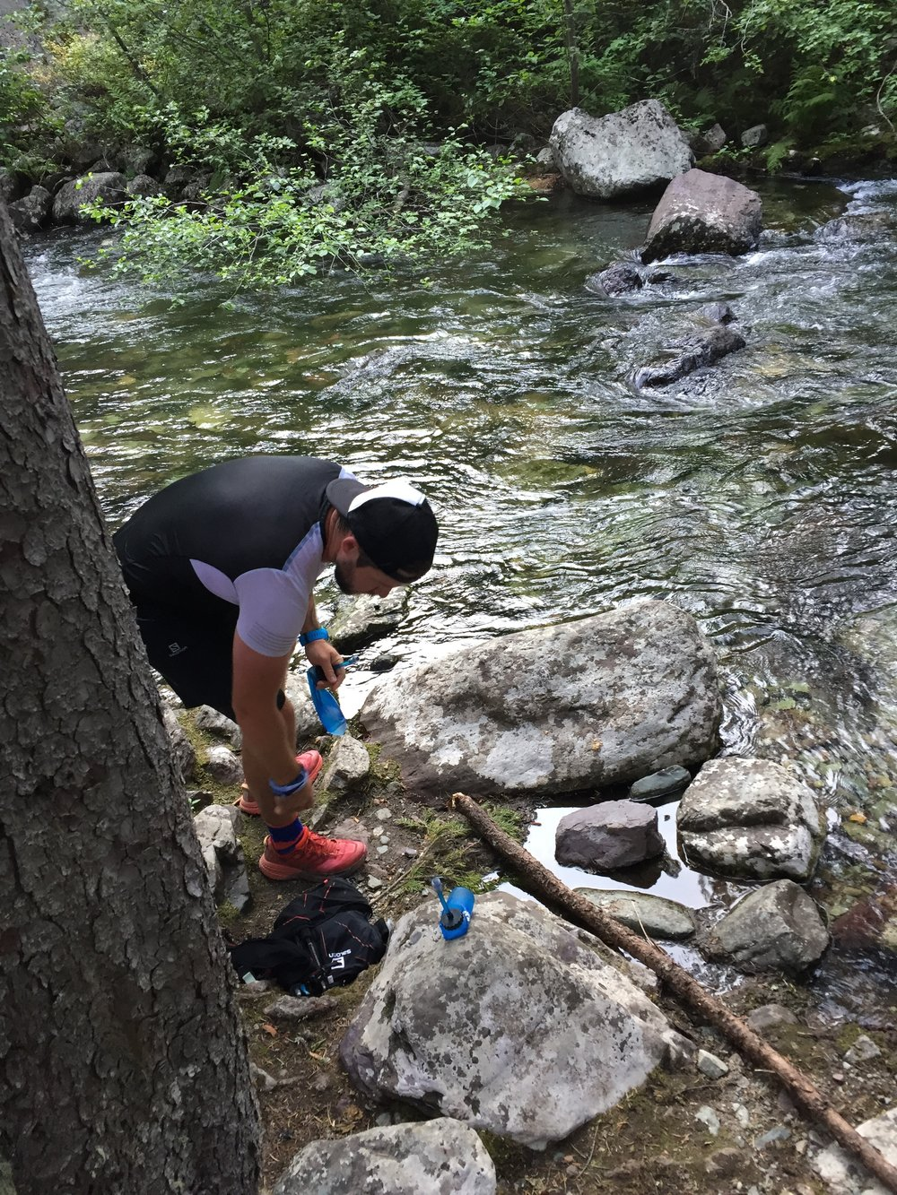 Sam getting ready to purify his creek water.
