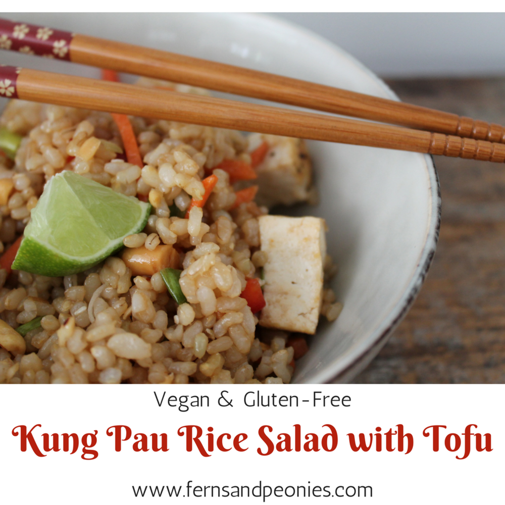Vegan and Gluten-free Kung Pao Rice Salad with Tofu - this recipe and more at www.fernsandpeonies.com