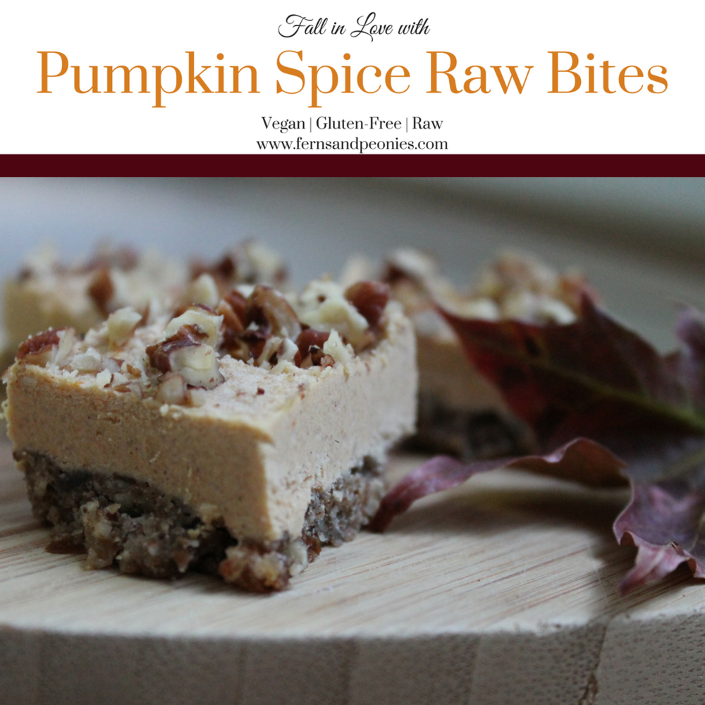 Fall in love with my vegan and gluten-free Pumpkin Spice Raw Bites. Find this recipe and more at www.fernsandpeonies.com
