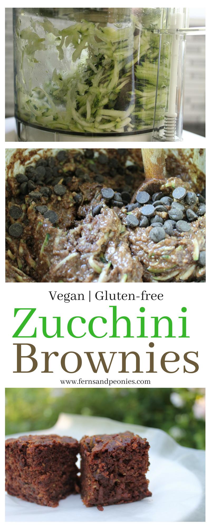 Moist and cake-like vegan and gluten-free Zucchini Brownies from www.fernsandpeonies.com