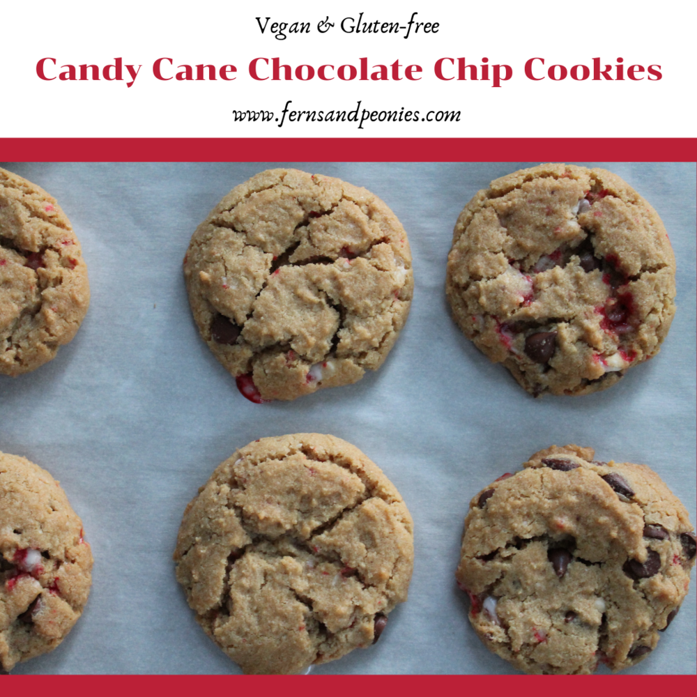 Vegan and Gluten-Free Candy Cane Chocolate Chip Cookies from www.fernsandpeonies.com