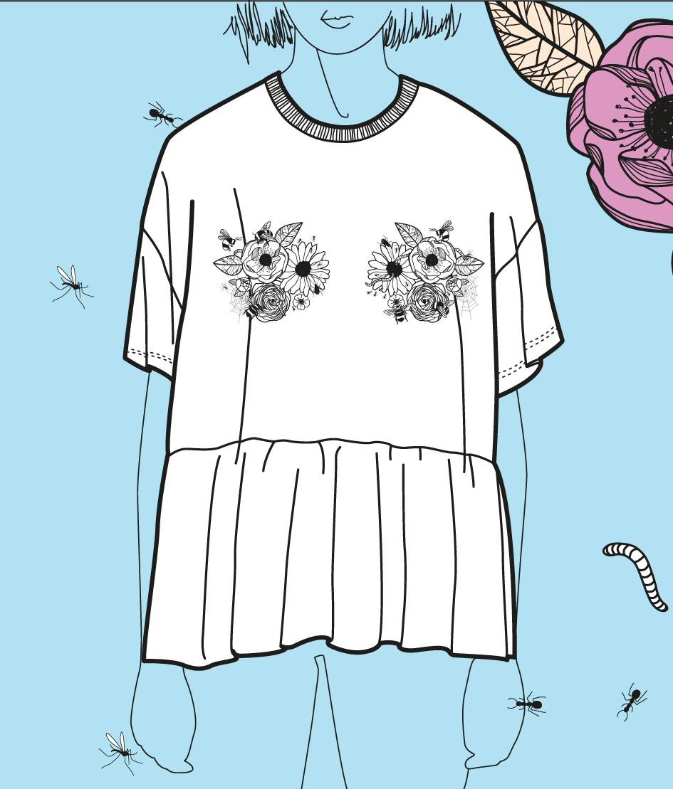 FLOWERS BALLERINA TEE