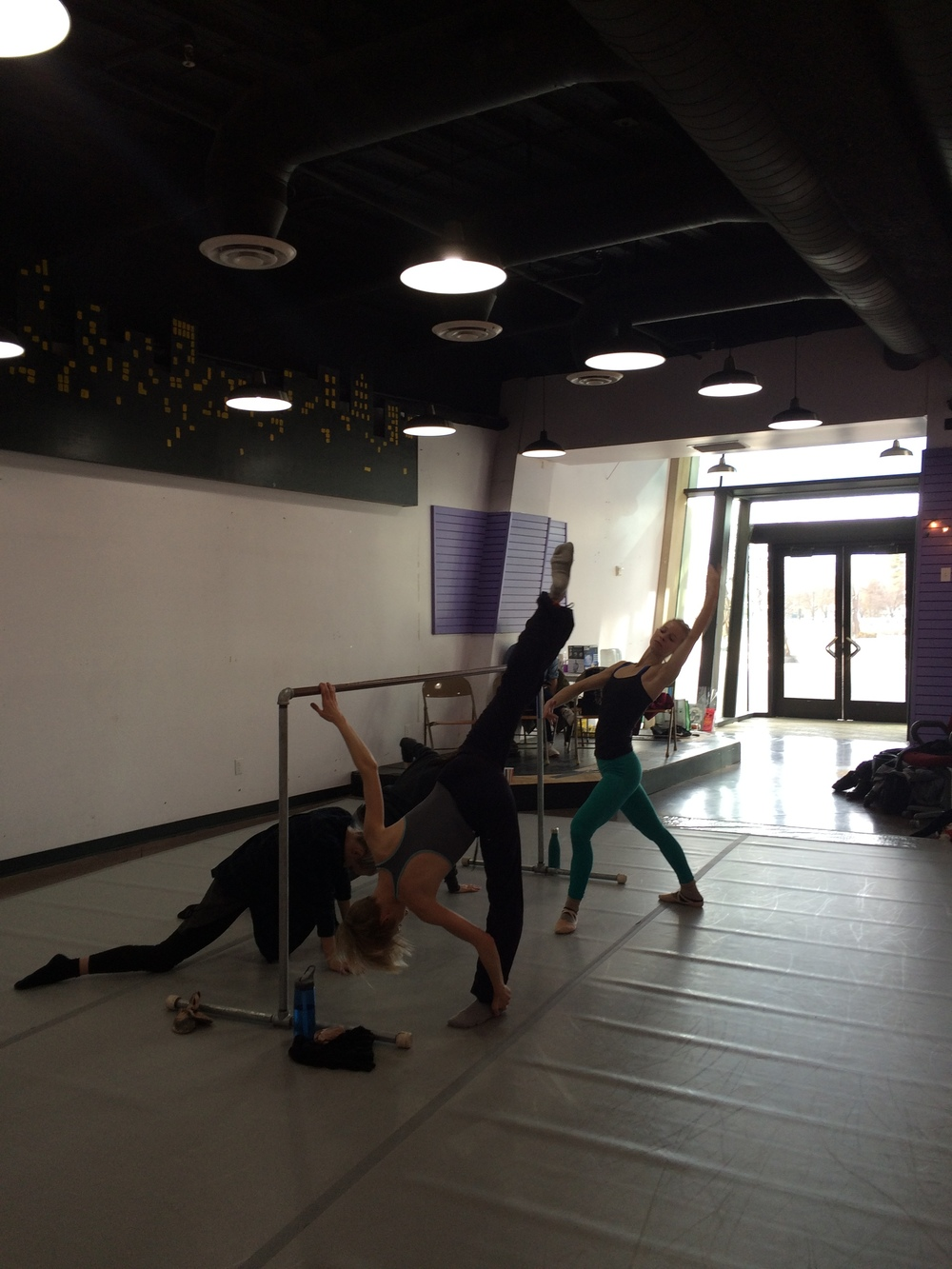 Municipal Ballet Co. members in class at our temporary studio at the Salt Lake City Public Library