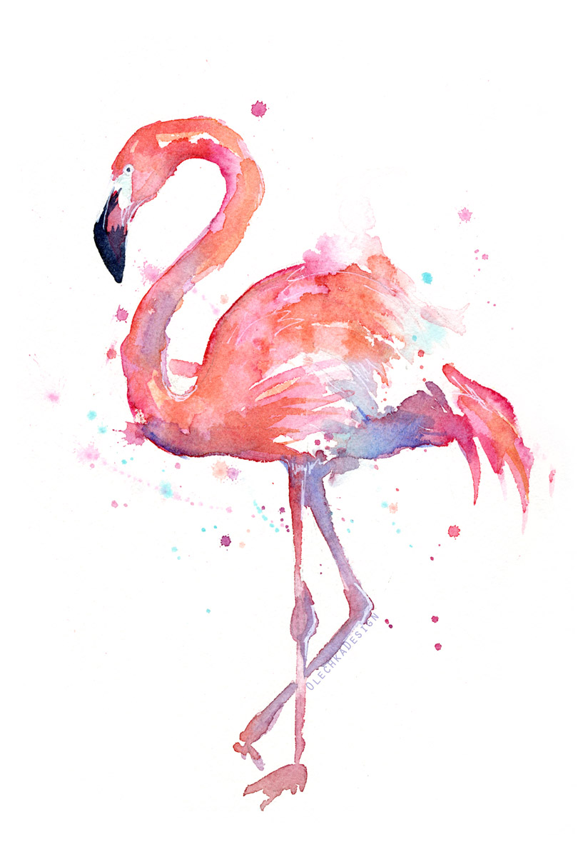 pink watercolor flamingo