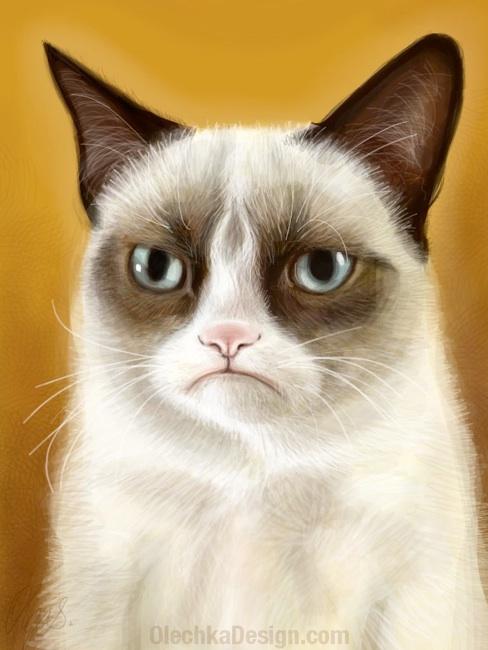 Grumpy Cat iPad Painting by Olga Shvartsur