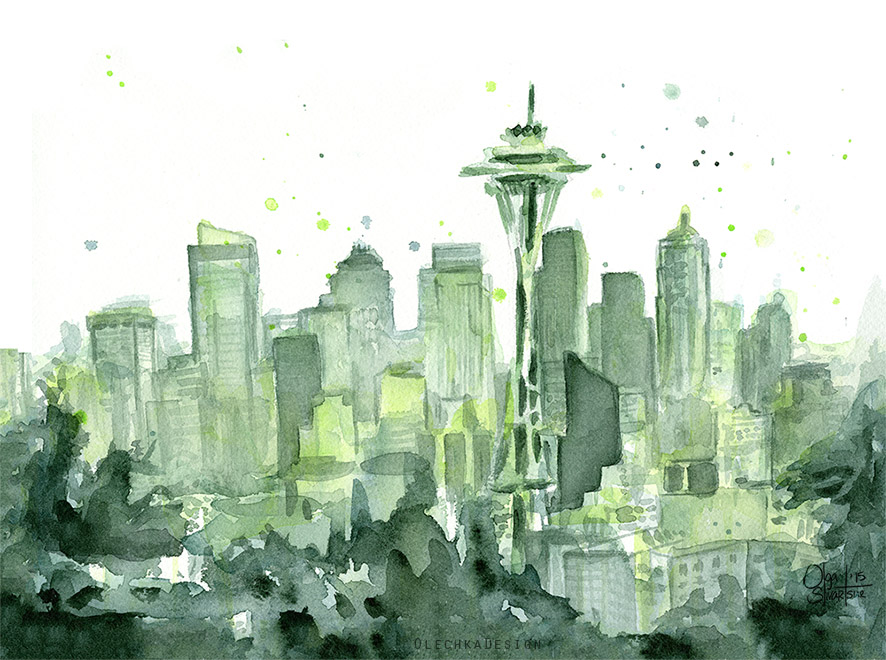 Seattle Watercolor Painting, Skyline, Space Needle, Cityscape, 12th Man Art
