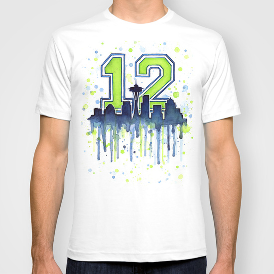 Seattle 12th Man shirt, watercolor illustration by Olga Shvartsur.