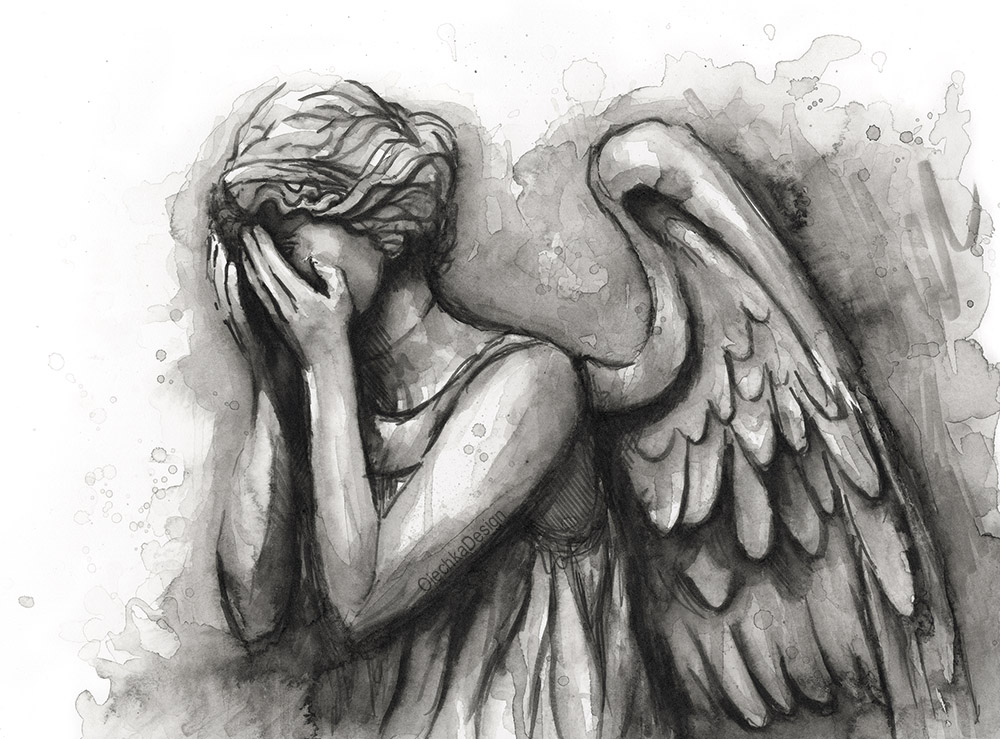 Weeping Angel Watercolor