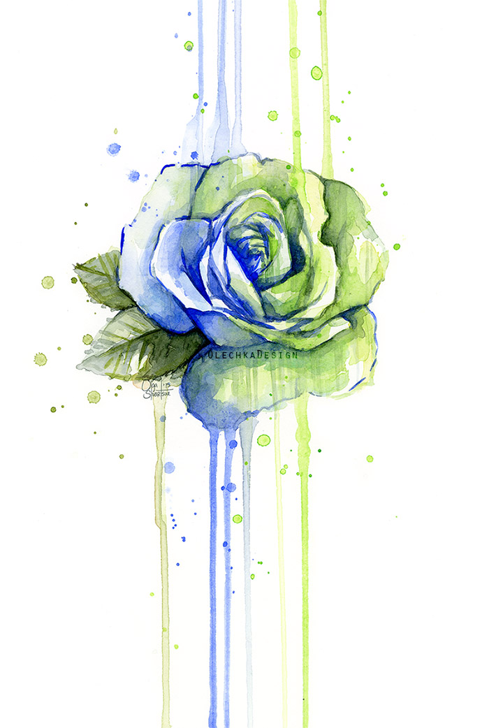 rose painting watercolor