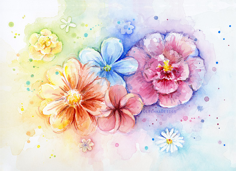 rainbow flowers painting