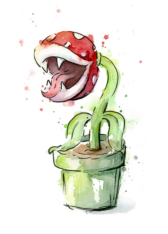 piranha plant watercolor painting