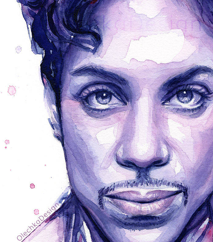 Prince watercolor portrait, purple, detail.