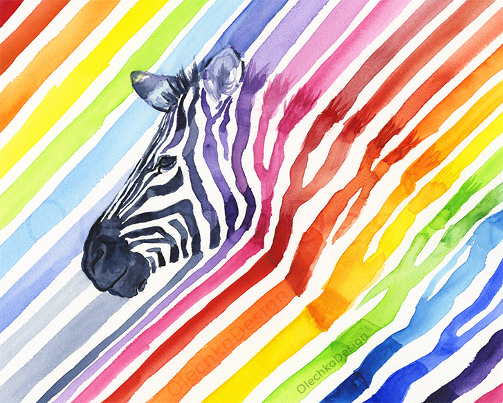 rainbow zebra watercolor