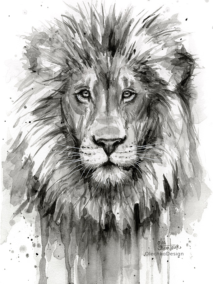 Lion-watercolor-painting-black-and-white-olechkadesign.jpg