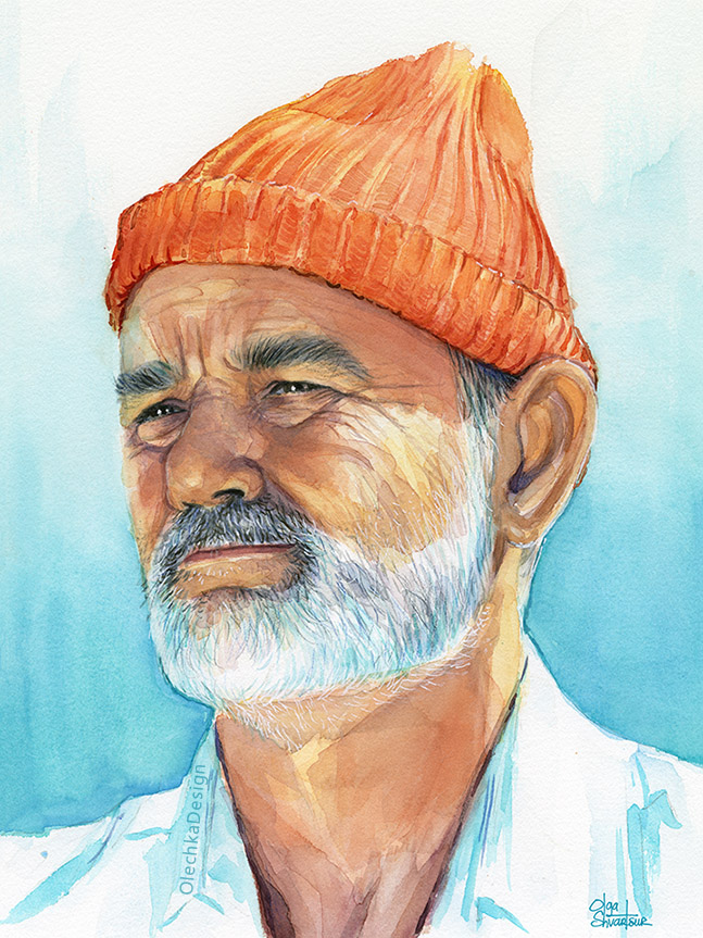 Steve Zissou (Bill Murray) from The Life Aquatica, watercolor painting.