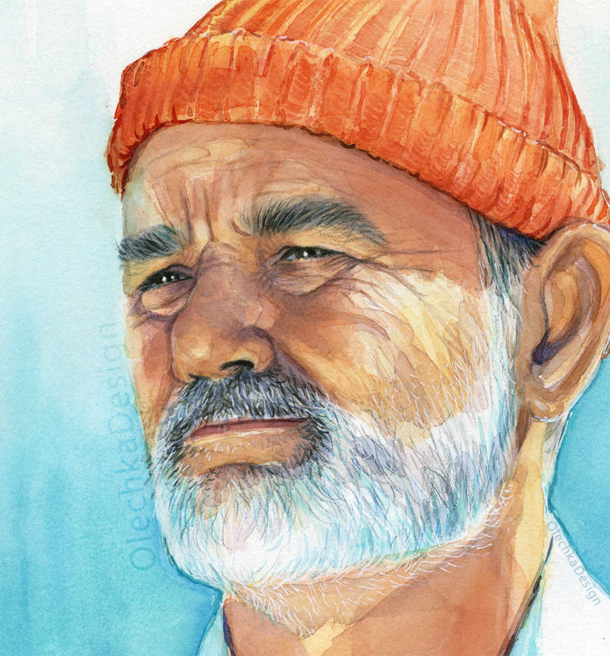 Bill Murray as Steve Zissou, watercolor portrait, detail.