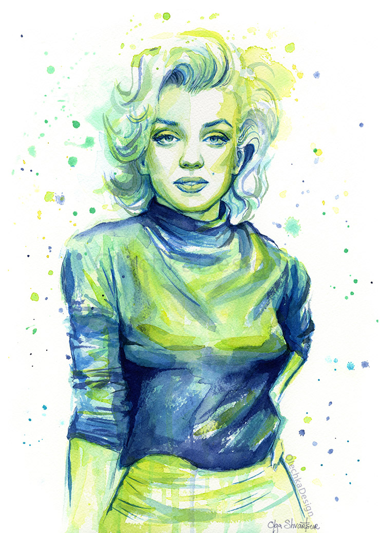 Marilyn Monroe watercolor art.