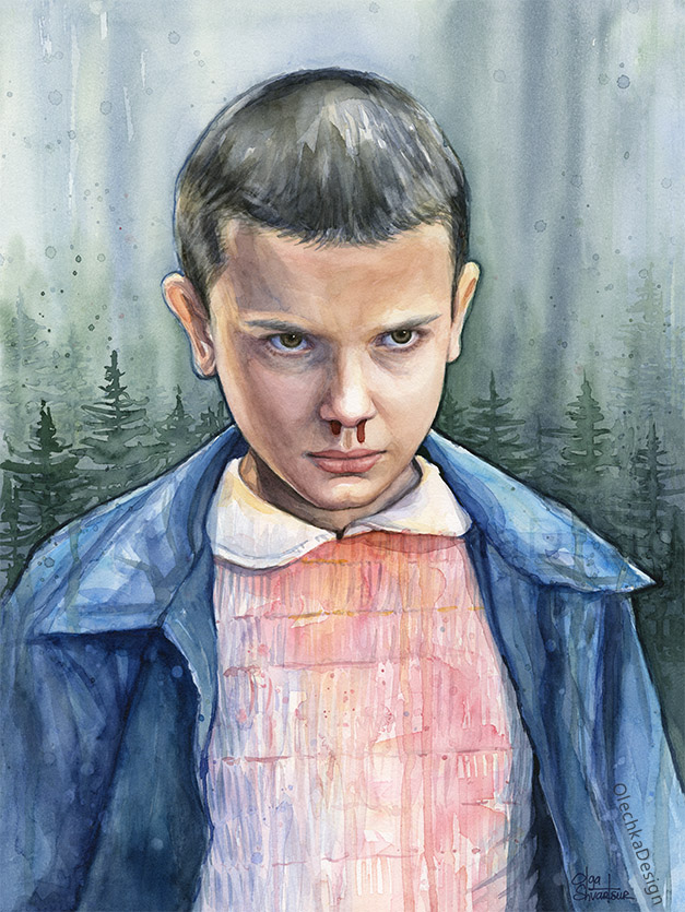"Stranger Things Eleven ""El"" - watercolor painting."
