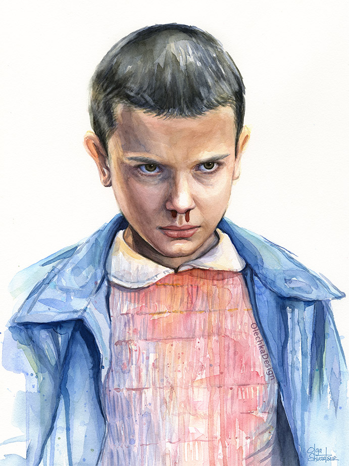 Eleven (Millie Bobbie Brown) from Stranger Things, watercolor portrait with white background.