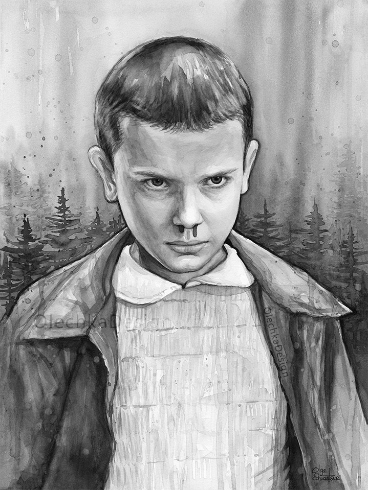 Stranger-things-eleven-fan-art-watercolor-black-and-white-portrait-olechkadesign.jpg