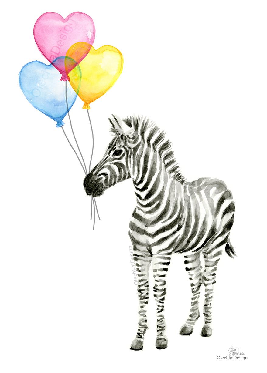 Zebra Watercolor Nursery Art Baby Animals Balloons Hearts