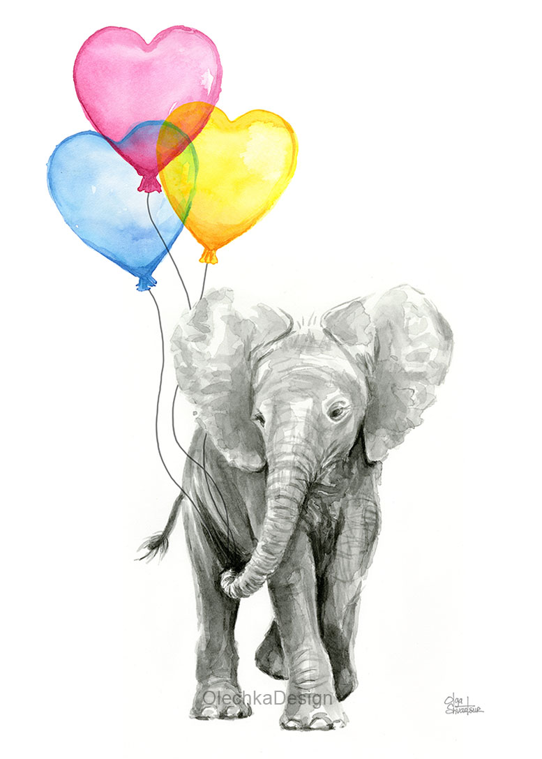 46cbe1269 Elephant-watercolor-Baby-animal-rainbow-Balloon-hearts.jpg